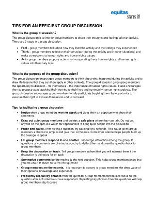 TIPS FOR AN EFFICIENT GROUP DISCUSSION