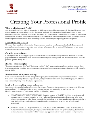 Creating Your Professional Profile