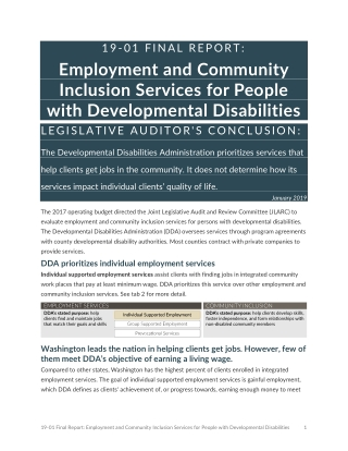 Employment and Community Inclusion Services for People with Developmental Disabilities