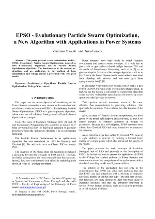 EPSO - Evolutionary Particle Swarm Optimization, a New Algorithm with Applications in Power Systems