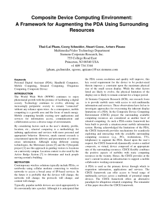 Composite Device Computing Environment: A Framework for Augmenting the PDA Using Surrounding Resources