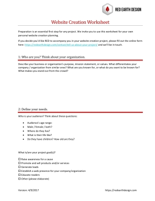 Website Creation Worksheet