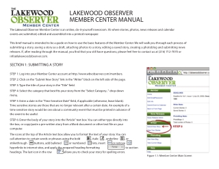 LAKEWOOD OBSERVER MEMBER CENTER MANUAL