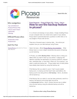 How to use the backup feature in picasa?