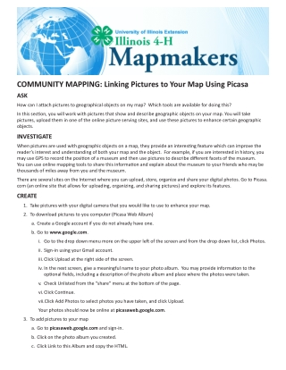 COMMUNITY MAPPING: Linking Pictures to Your Map Using Picasa