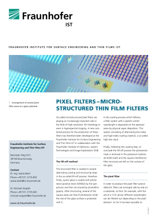 PIXEL FILTERS – MICRO­ STRUCTURED THIN FILM FILTERS