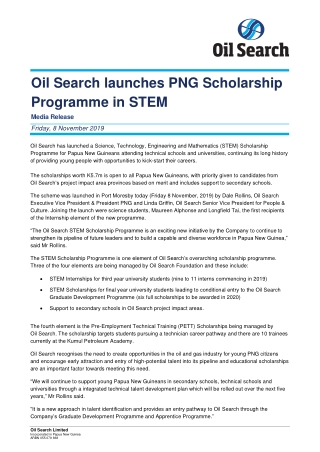 Oil Search launches PNG Scholarship Programme in STEM