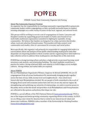 POWER: Center State Community Organizer Job Posting  About The Community Organizer Position