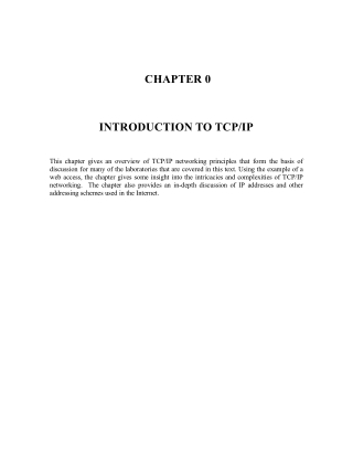 CHAPTER 0 INTRODUCTION TO TCP/IP