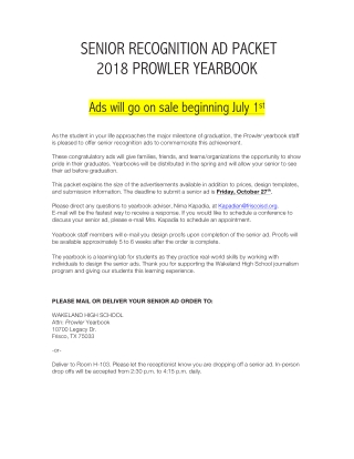 SENIOR RECOGNITION AD PACKET 2018 PROWLER YEARBOOK