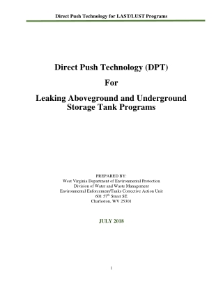 Direct Push Technology (DPT) For Leaking Aboveground and Underground Storage Tank Programs