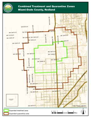 Combined Treatment and Quarantine Zones Miami-Dade County, Redland