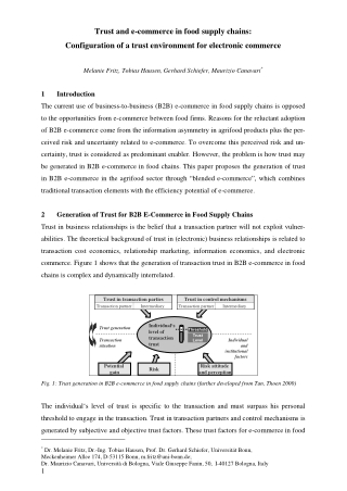 Trust and e-commerce in food supply chains: Configuration of a trust environment for electronic commerce