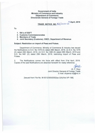 Governmelt of India Ministry of Commerce and Industry Department of Commerce Directorate