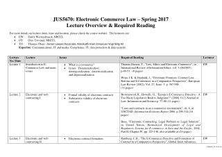 JUS5670: Electronic Commerce Law