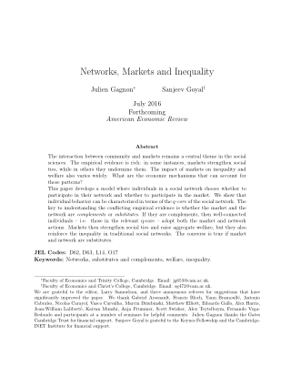 Networks, Markets and Inequality