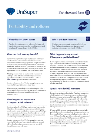 Portability and rollover