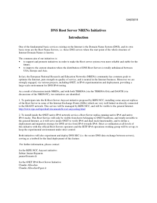 DNS Root Server NRENs Initiatives Introduction