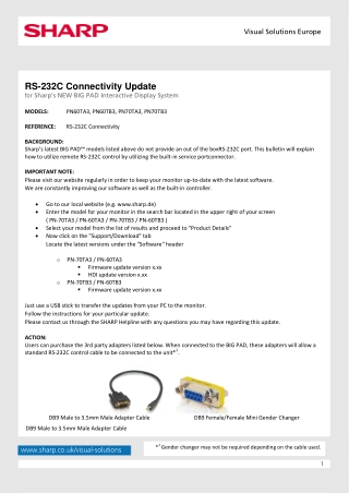 RS-232C Connectivity Update