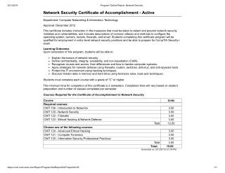 Network Security Certificate of Accomplishment - Active