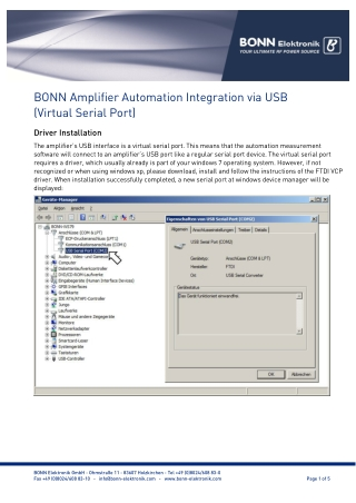 BONN Amplifier Automation Integration via USB (Virtual Serial Port)