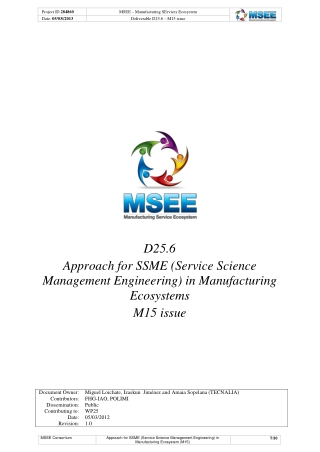 D25.6 Approach for SSME (Service Science Management Engineering) in Manufacturing Ecosystems M15 issue