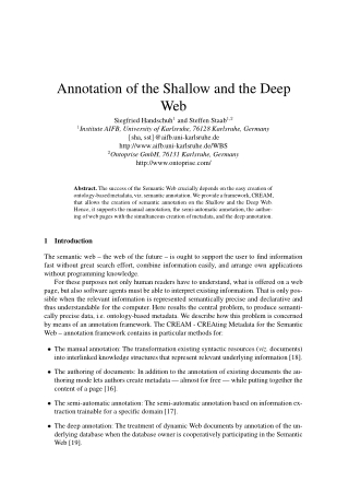 Annotation of the Shallow and the Deep Web