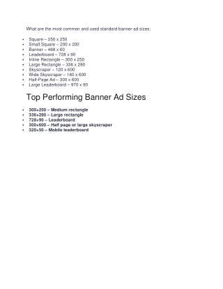 Top Performing Banner Ad Sizes