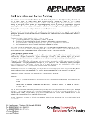Joint Relaxation and Torque Auditing