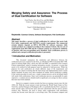 Merging Safety and Assurance: The Process of Dual Certification for Software
