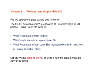 Chapter 6. File Input and Output (File I/O)
