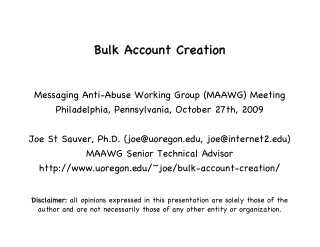 Bulk Bulk Account Account Creation Creation