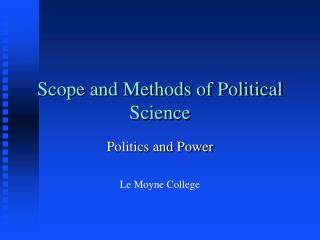 Extension and Techniques for Political Science