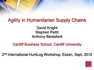 Agility in Humanitarian Supply Chains