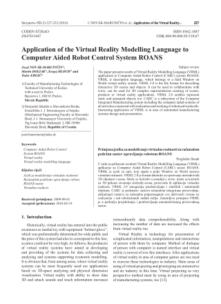 Application of the Virtual Reality Modelling Language to Computer Aided Robot Control System ROANS