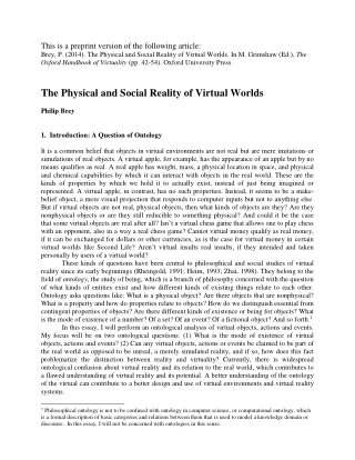 The Physical and Social Reality of Virtual Worlds