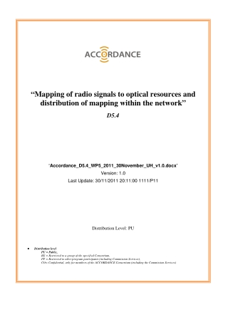 """Mapping of radio signals to optical resources and distribution of mapping within the network"""