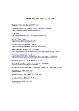 LEARN ABOUT THE AUTHORS