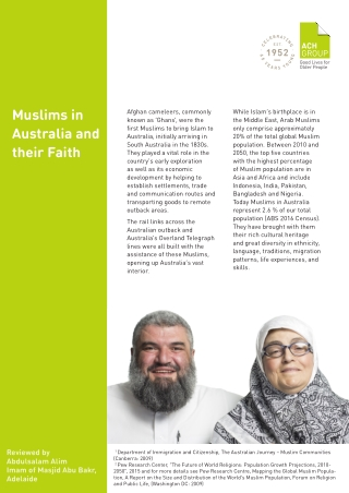Muslims in Australia and their Faith