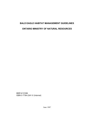 BALD EAGLE HABITAT MANAGEMENT GUIDELINES ONTARIO MINISTRY OF NATURAL RESOURCES