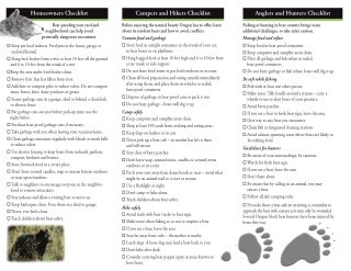 Homeowners Checklist Campers and Hikers Checklist Anglers and Hunters Checklist