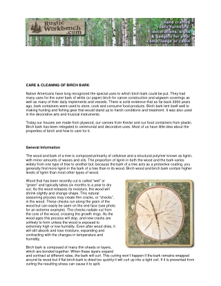 CARE & CLEANING OF BIRCH BARK