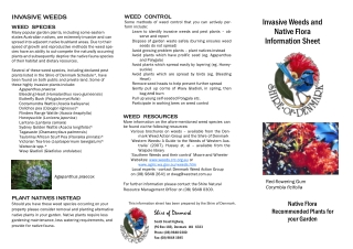 Invasive Weeds and Native Flora Information Sheet