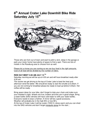 Annual Crater Lake Downhill Bike Ride Saturday July 15