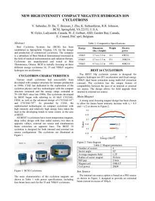 NEW HIGH INTENSITY COMPACT NEGATIVE HYDROGEN ION CYCLOTRONS