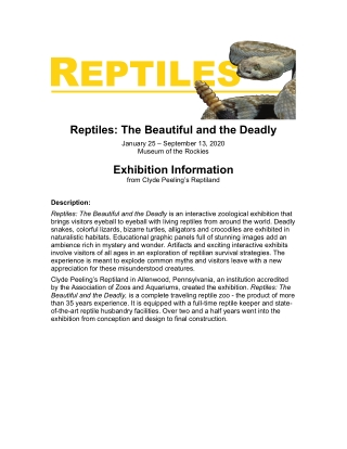 Reptiles: The Beautiful and the Deadly