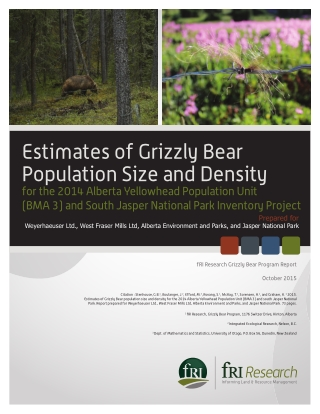 Estimates of Grizzly Bear Population Size and Density