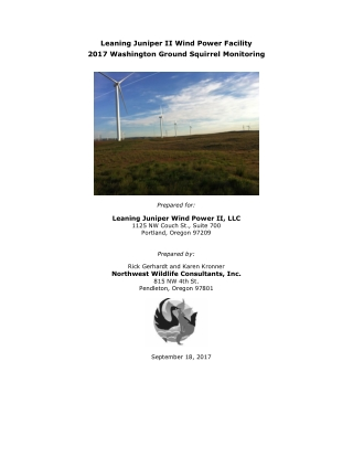 Leaning Juniper II Wind Power Facility 2017 Washington Ground Squirrel Monitoring