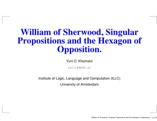 William of Sherwood, Singular Propositions and the Hexagon of Opposition.