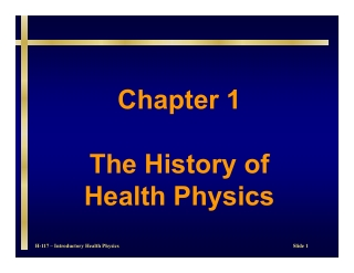 Chapter 1 The History of Health Physics
